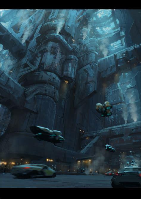 cyberpunk city concept environment sci fi concept art cities traffic maxim revin future cities cyberpunk art