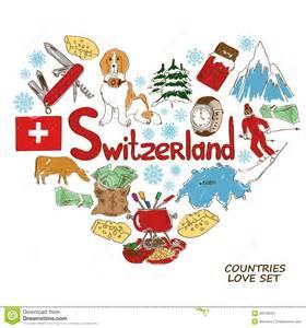 symbols of switzerland in heart shape concept stock vector