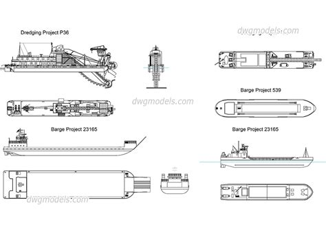 boat cad drawing free download dredging barges free autocad drawings dwg blocks download