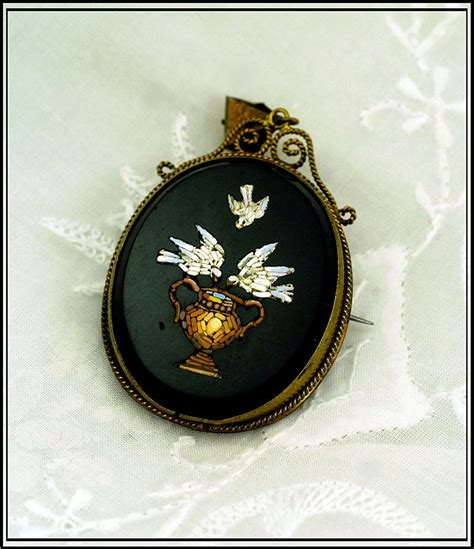 antique micro mosaic pendant doves from