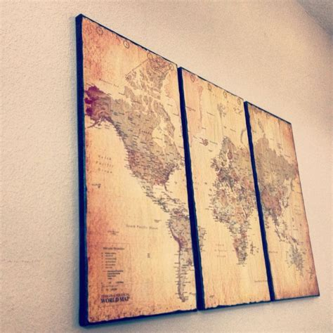 Canvas Decor Vintage World Map wall design ideas awesome vintage world map wall antique world wall map map wall