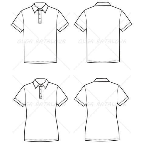 illustrator pattern outline women s and men s polo t shirt fashion flat templates
