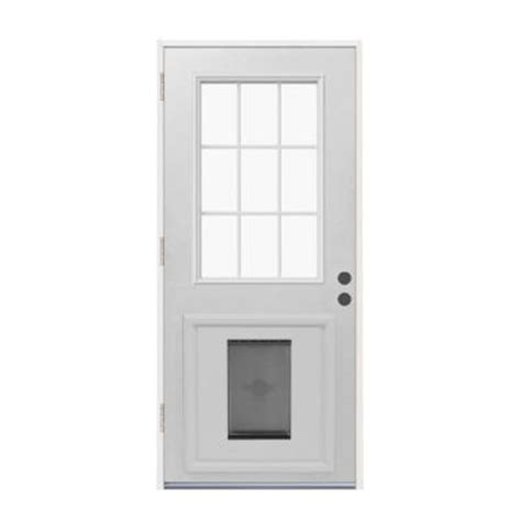 Exterior Door With Pet Door Jeld Wen 9 Lite Primed White Steel Prehung Front Door With Large Pet Door Thdjw203900018 The