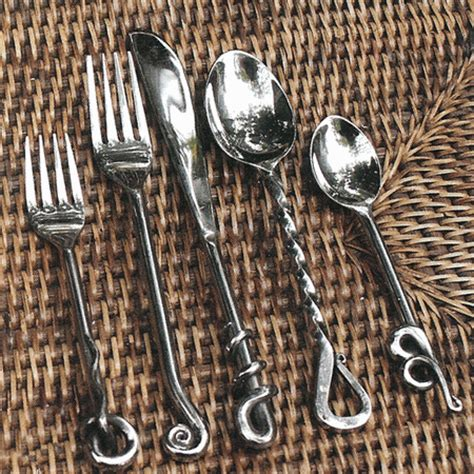 wrought iron flatware forged flatware polished 5 pc cutlery005