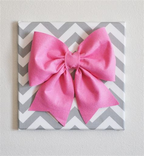 diy decorations bows large pink bow on gray and white chevron 12 x12 canvas