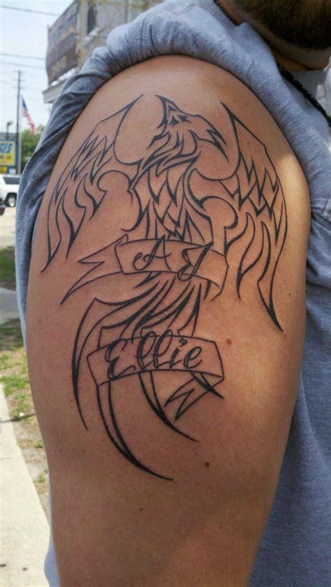 phoenix tattoo reddit phoenix tattoo with my kids names done by ben stubbs at