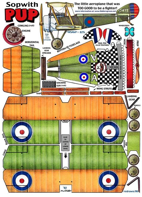 Papercraft Planes - sopwith pup http www fiddlersgreen net