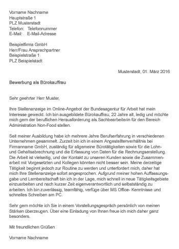 Anschreiben Vorlage Agentur Fur Arbeit Muster Gt Bewerbung Als B 252 Rokauffrau B 252 Rokaufmann
