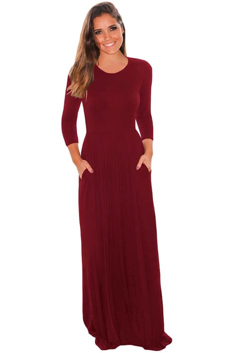 Maxi Shiren Set Maroon 3in1 us 9 07 burgundy pocket design 3 4 sleeves maxi dress dropshipping