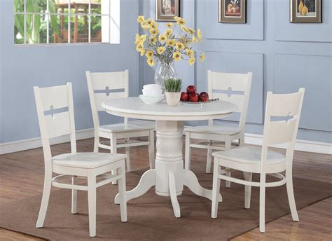 White Kitchen Table 5 Pc Shelton 42 In Kitchen Dinette Table 4 Chairs In White Ebay