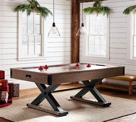 wood air hockey table brown wooden black x base air hockey table