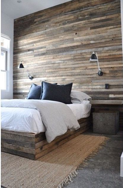bedroom ideas on pinterest headboard ideas plank salvaged plank wood plank bed accent wall http www