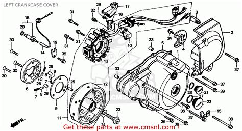 honda rebel 250 parts diagram honda cmx250c rebel 250 1986 usa left crankcase cover