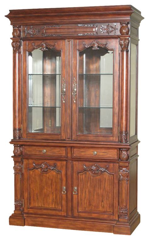7.5Ft Tall Mahogany China Hutch Lighted Curio Display Showcase Cabinet   Traditional   China
