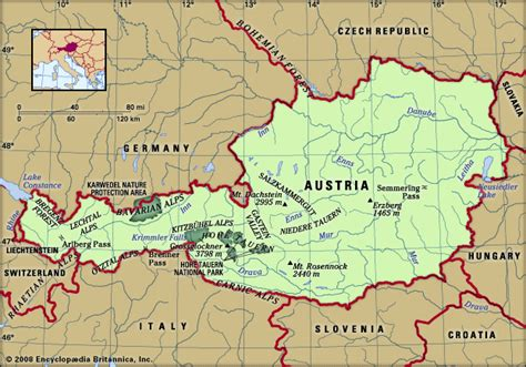 physical map of austria austria physical features encyclopedia children