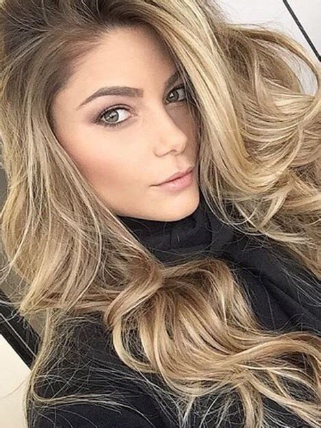 brown long hair with grey aroung front black sweater contour cover up gorgeous grey eyes