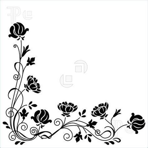 White Rose Flowers - pattern floral borders clipart