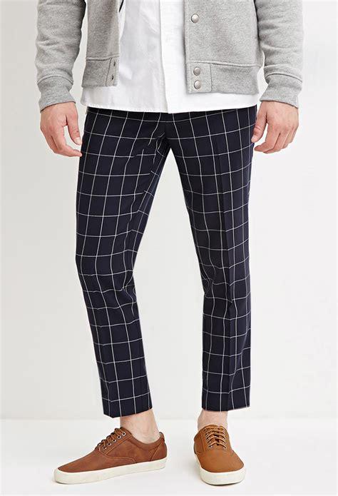 grid pattern pants forever 21 slim fit grid patterned pants in blue for men
