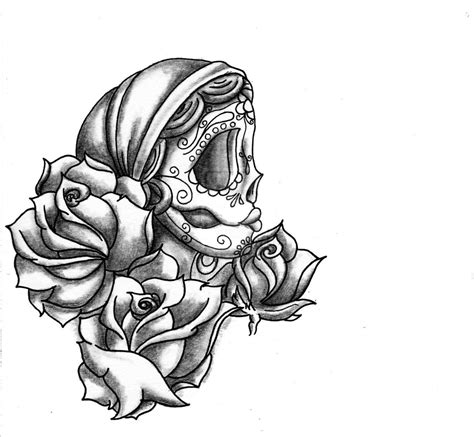 skull and rose tattoo designs flowers and sugar skull design