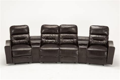 Theater Recliner Sofa Mcombo Home Theater Leather 4 Set Recliner Media Sofa W Cup Holder 7095 Brown Ebay