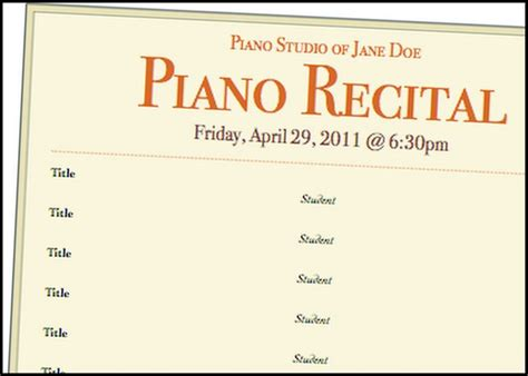 recital program template sle piano recital program images