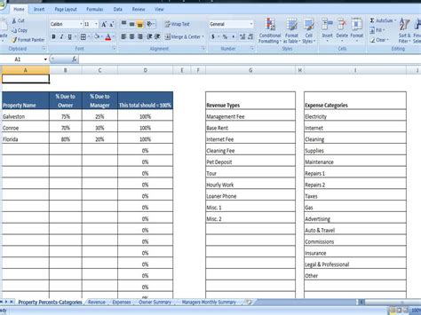 rental income spreadsheet template property managers template rent income and expense