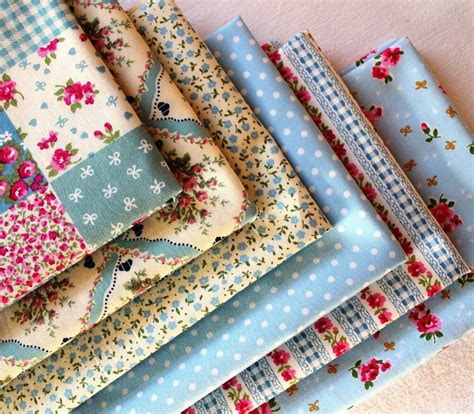 fabric crafts shabby chic quarter bundle 100 cotton blue patchwork fabric craft