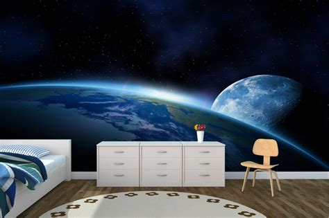 outer space wall mural great use of space i wouldn t trust myself to paint something like this but maybe an outer