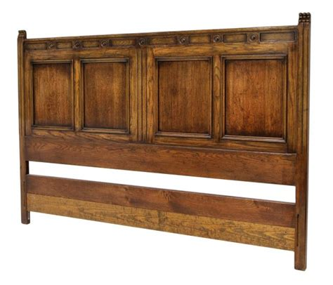 English Style Paneled Oak King Size Bed Headboard Lot 457