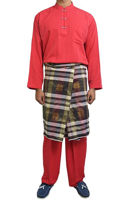 Fitbull Dress Combi Brukat Putih damas button baju melayu in baju melayu
