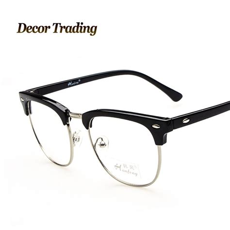 retro high fashion plain glasses metal frame eyeglass for