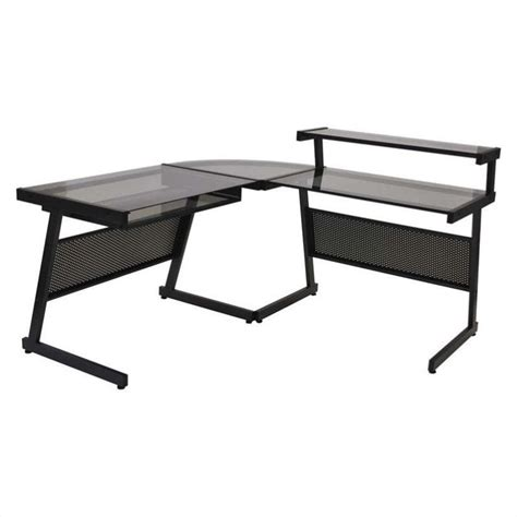 Smoked Glass Desk by Eurostyle L Desk In Graphite Black And Smoked Glass