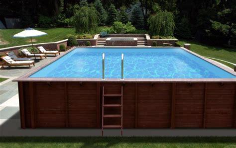 pavillon umrandung holzpool 8x5m mega schwimmbecken blockbohlen bausatz