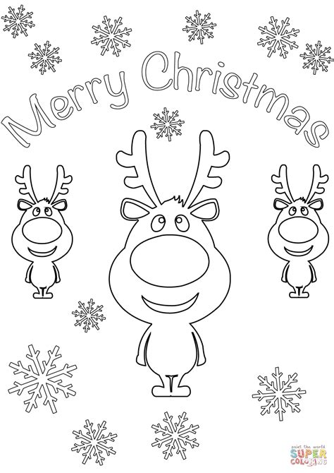 merry christmas card coloring page merry christmas card with cartoon reindeers coloring page