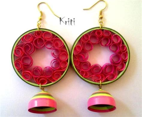 How To Make Paper Earrings Jhumkas At Home - paper quilling jhumka designs by kriti handmade jewelry