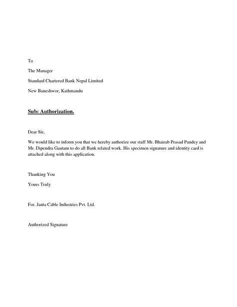 Authorization Letter Of Signature Signatory Authority Letter Format Best Template Collection