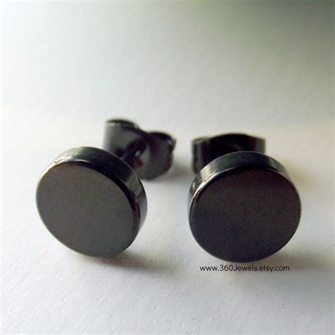 mens earrings thick steel disc earrings for by 360jewels