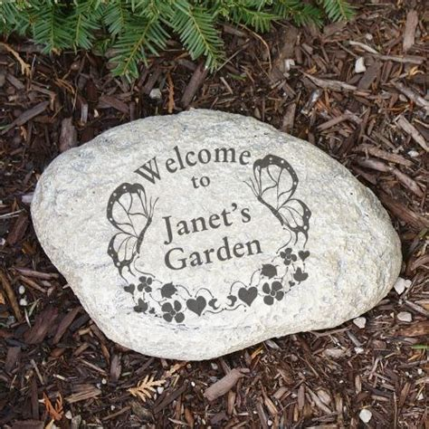 Personalized Butterfly Garden Stone Hearts Yard Accent Custom Garden Rocks