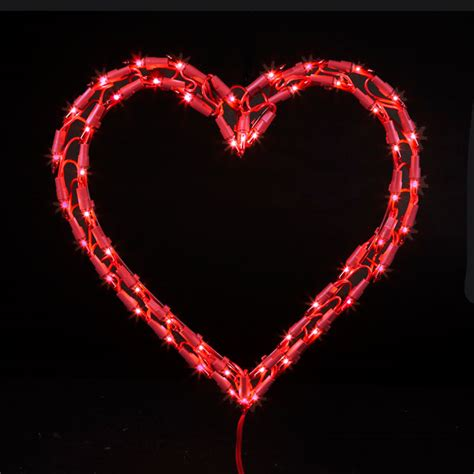 red heart christmas light