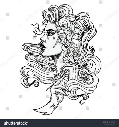 tattoo girl vector vector tattoo template on white background stock vector