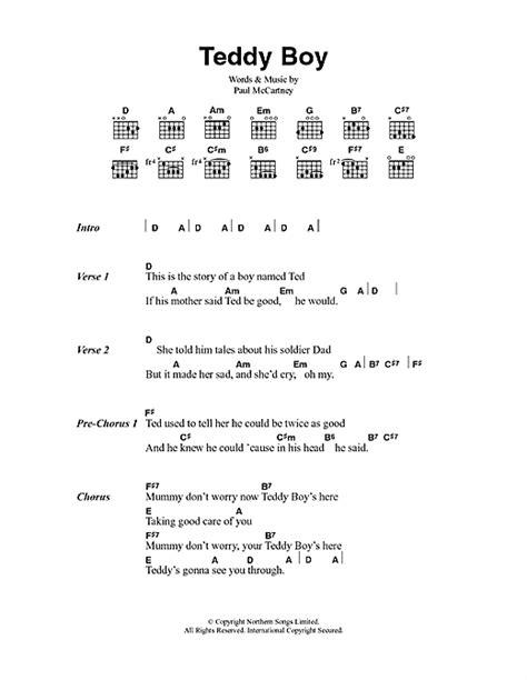 lyrics mccartney teddy boy sheet by paul mccartney lyrics chords