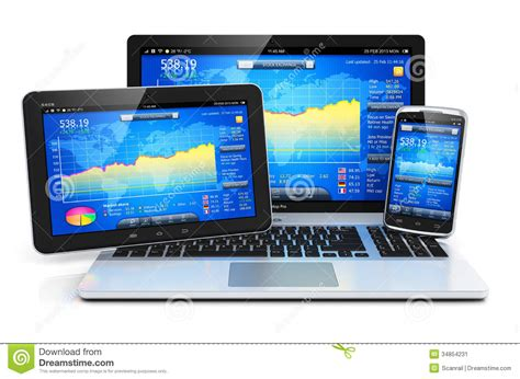 mobil stock financial management on mobile devices stock illustration