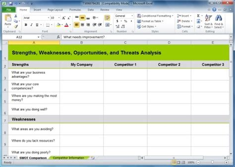 competitor swot analysis template competitive analysis template excel www imgkid the