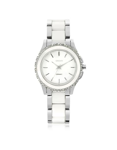 Dkny Dk03 White Silver dkny westside white ceramic and silver stainless steel