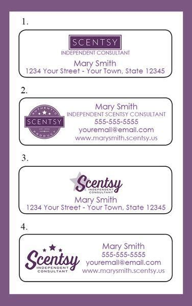 scentsy pyo business cards template personalized scentsy consultant catalog labels or address