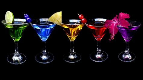 martini black multicolor glass cocktail drinks black background hd