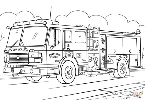 top fire truck coloring page drawing
