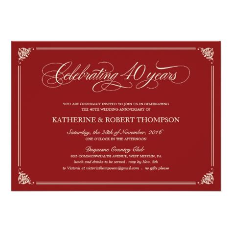 40th wedding anniversary invitation templates formal ruby 40th anniversary invitations zazzle