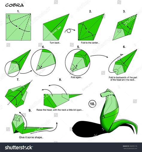 How To Make Paper Animals Step By Step - origami animal snake cobra diagram stock