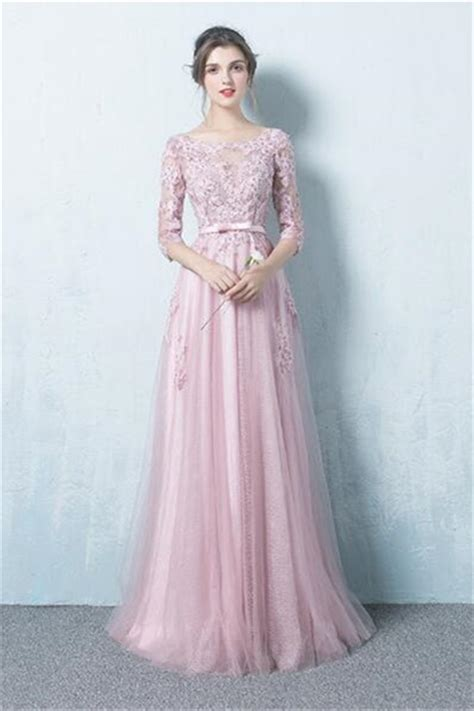 boat neck prom dress a line boat neck long dusty pink tulle lace prom dress